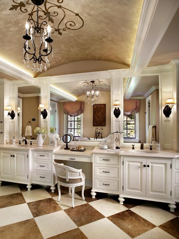 bathroom vanity with makeup vanity attached | French Bathroom With Dual Vanities and Makeup Desk : Designers ...