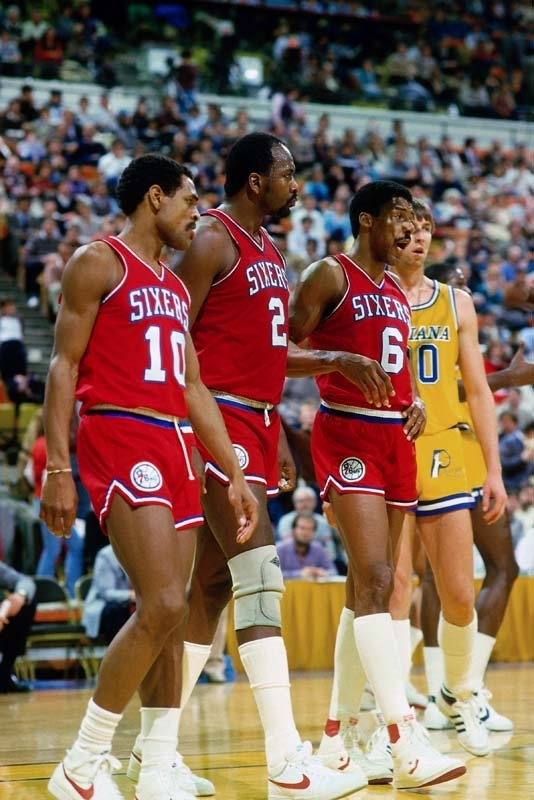 Moses Malone with Maurice Cheeks and Julius Erving