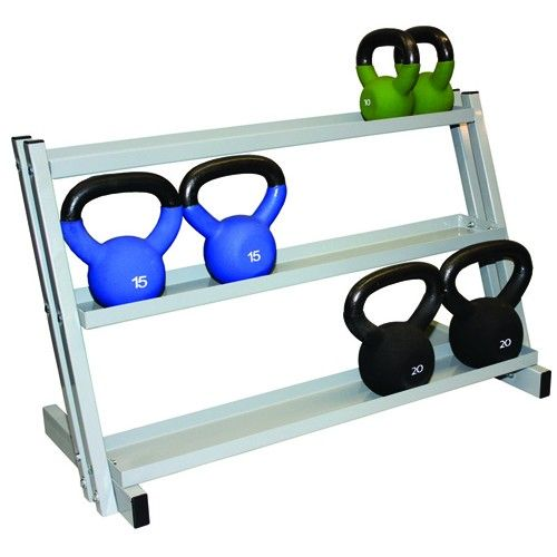 "Kettlebell Rack -   Holds 20 weights. Designed for small kettlebell weights. Grey powdercoat finish 250 lbs total capacity (20 kettlebells). Minor assembly required 34"" W x 15"" D x 21"" H. Rack only - items sold separately."