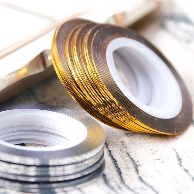 2 Roll Gold Silver Glitter Striping Tape Lines For Nail Art 0 5mm Adhesive Nail Sticker Foil Diy Manicure Decor Diy Manicure Nail Stickers Nail Art Designs Diy
