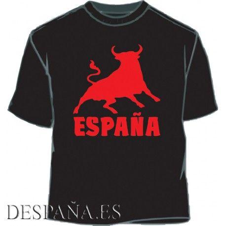 Camiseta España Toro. Negro-rojo - 8,00€