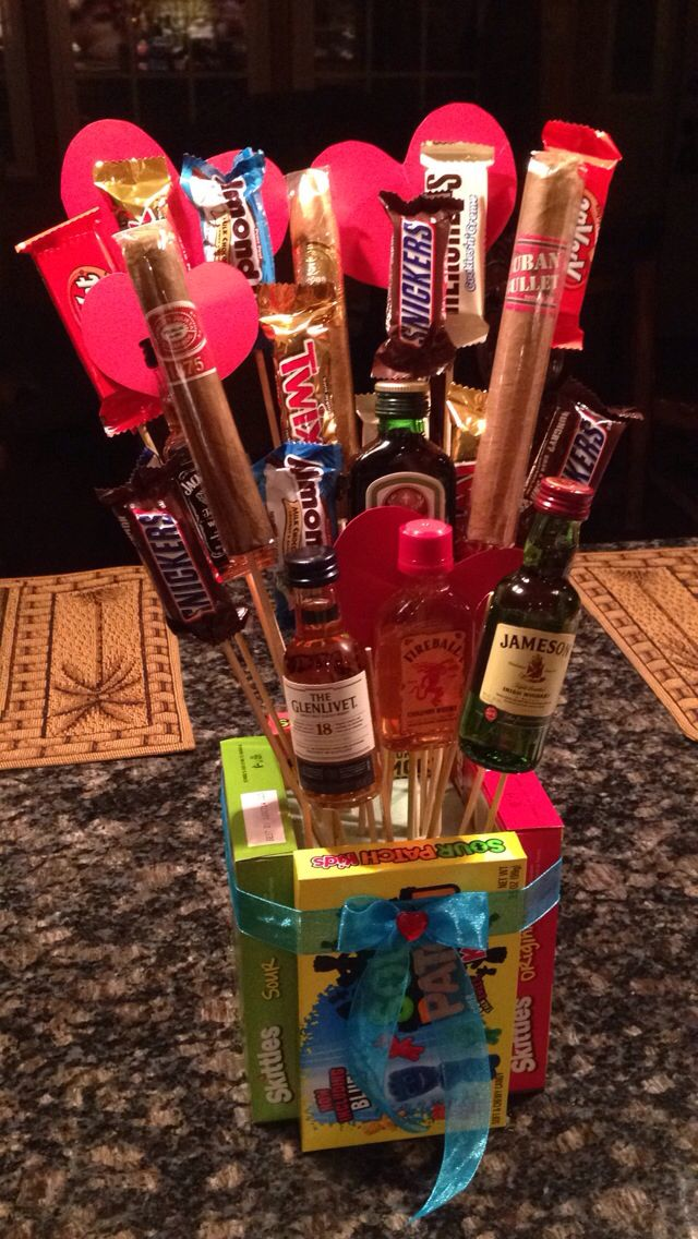 Valentine's Bro-quet with liquor, cigars and candy! Diy personalized gift for that special someone