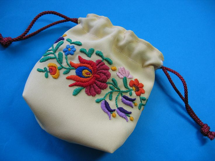 A drawstring pouch with Hungarian embroidery