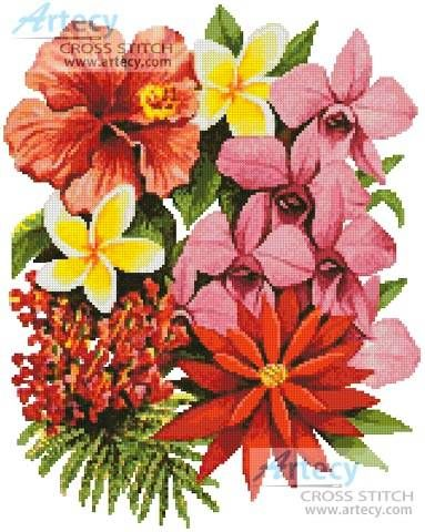 Tropical Flowers of Oz cross stitch pattern.