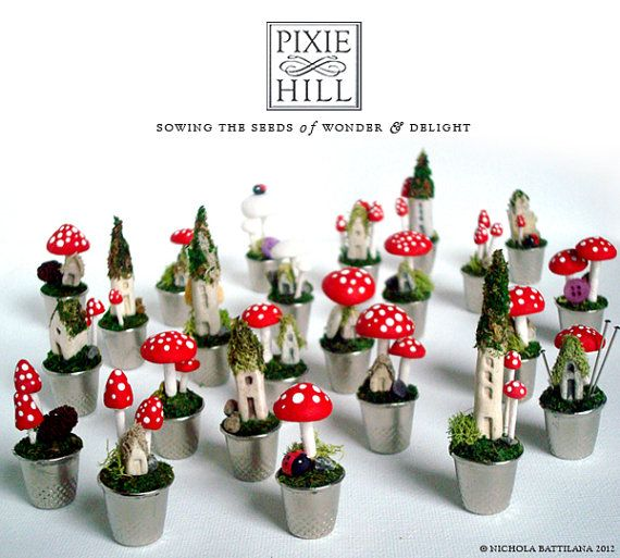 How to... make teeny weeny mushrooms - video tutorial from Pixie Hill Studio - #mushrooms #toadstools #miniatures #DIY #crafts #fairy #gardens #thimble - tå√