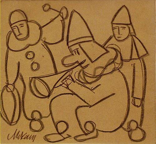 """Markey Robinson """"Circus Trio - Clowns"""" #gouache #circus #irishart #DukeStreetGallery"""