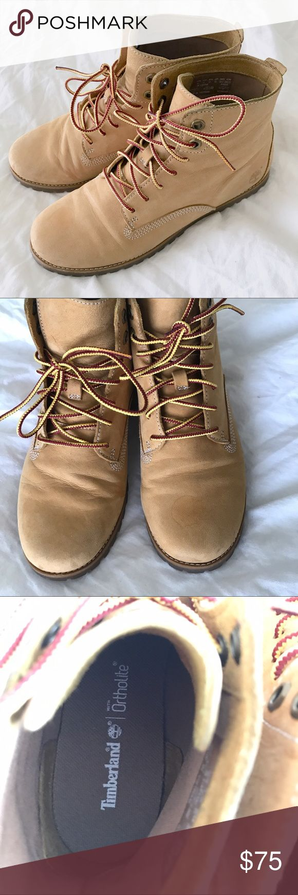 Ortholite Timberland Joslin Chukka Boots Super light and comfy boot that's perfect for spring! Minimal signs of wear. Watermark on tip of the boot is due to a drop of hand sanitizer. May be able to wash out! From Timberland website: Uppers are lightweight nubuck leather Laces and linings are made from 50% PET (recycled plastic bottles) Lace-up styling Anti-odor OrthoLite® footbed for breathability and all-day comfort Durable lug outsole is made with 15% recycled rubber Shaft height is 4.5…