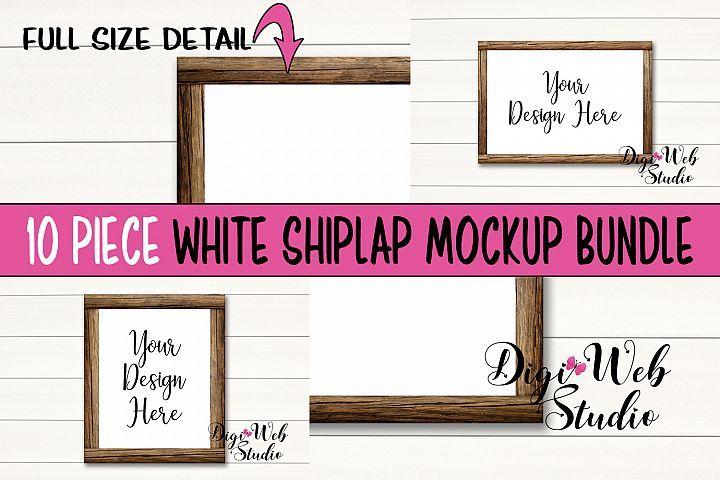 Wood Signs Mockup Bundle – 10 Wood Frames on White Shiplap