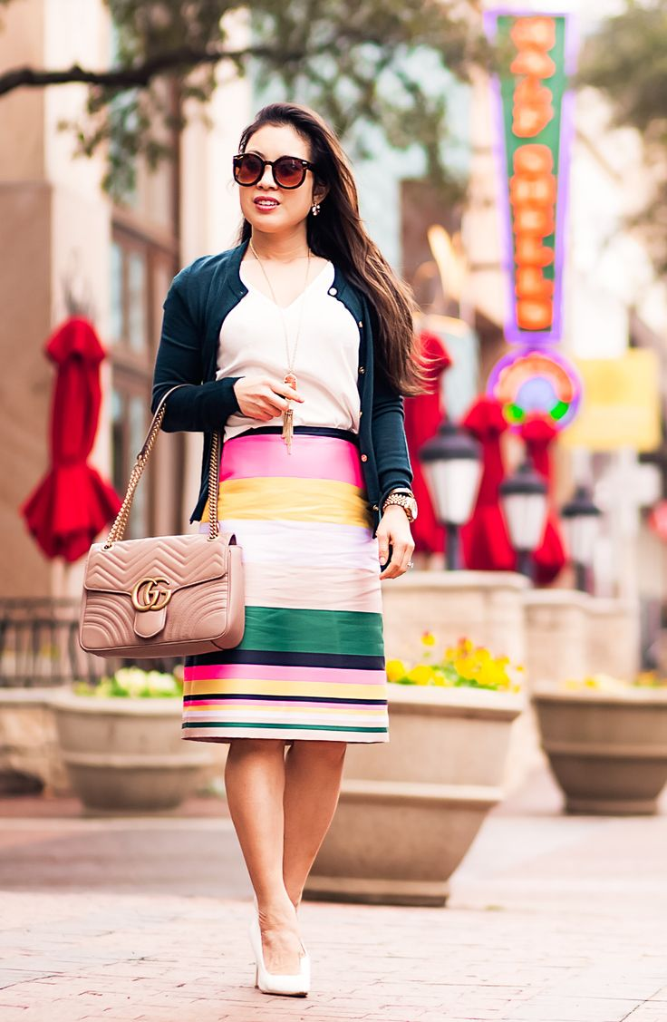 cute & little | petite fashion blog | j.crew pop stripe skirt, j.crew jackie car…