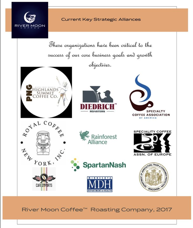 River Moon Coffee™ Roasting Company is a wholesale coffee roasting company specializing in #artisan #Goddess #coffeeblends and #CustomizedPrivateLabeling #tollroasting and #fundraising. This image shows some examples of our current key strategic alliances. rivermooncoffee.com