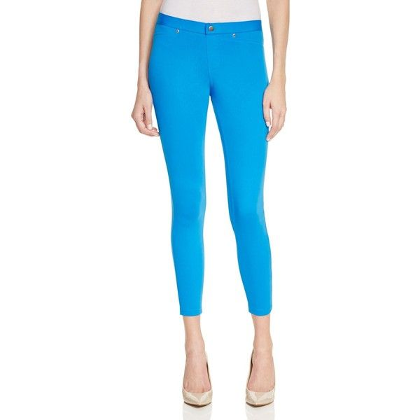 Hue Super Smooth Denim Skimmer Leggings ($45) ❤ liked on Polyvore featuring pants, leggings, electric blue, hue pants, blue leggings, royal blue leggings, denim trousers and blue denim pants