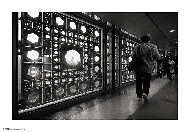 L' Institut du Monde Arabe, Paris by Jean Nouvel. What an incredible wall of windows that can adjust like a camera shutter.