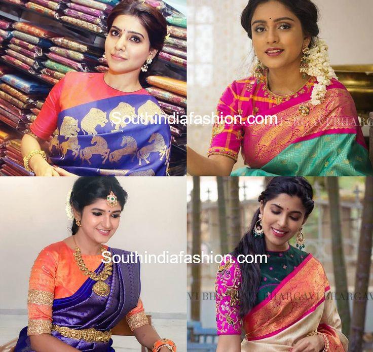 high neck blouse designs for pattu silk sarees