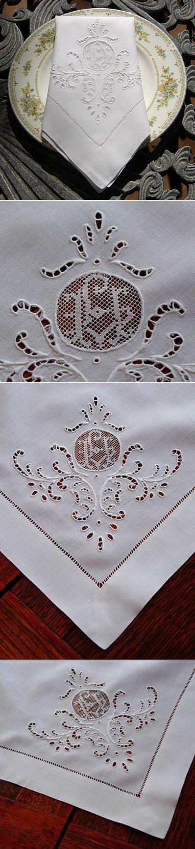 Em's Heart Antique Linens -Italian Antique Linen Embroidered Napkins