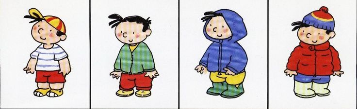 Jongen waarvan de kledij aangepast is aan de seizoenen.