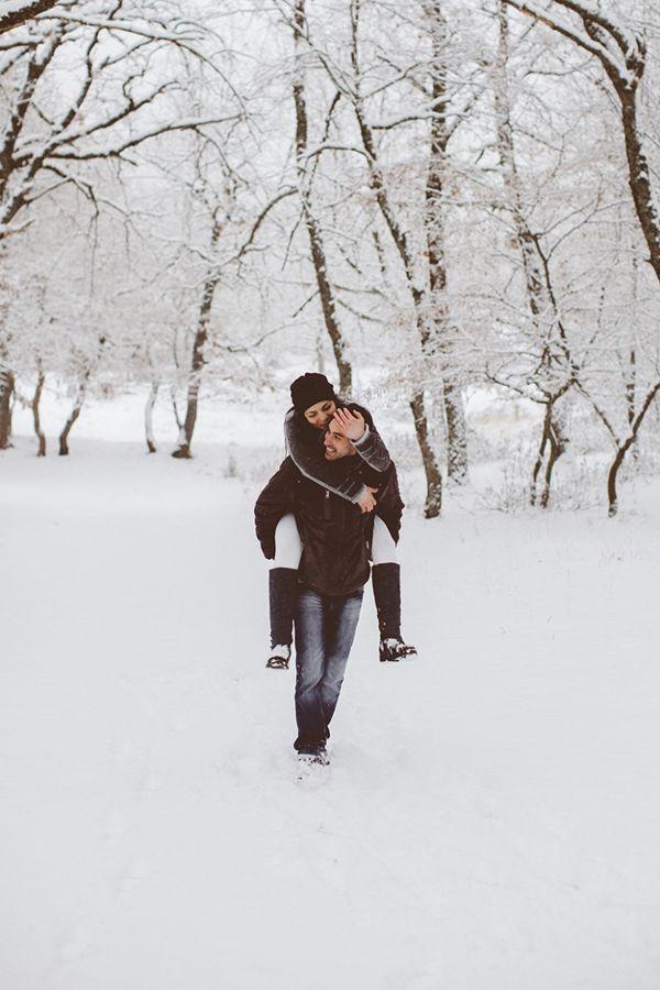A romantic prewedding photoshoot in a snowy scenery  See more: http://www.love4weddings.gr/prewedding-photoshoot-snow/