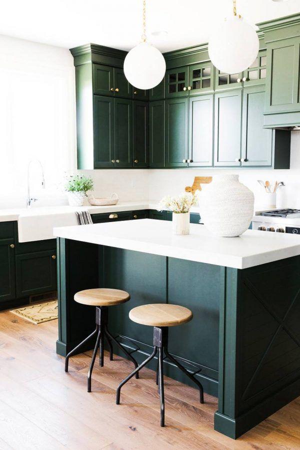 Attention: 6 Common Kitchen Decor Mistakes That You Will Regret | Kitchen Cabinet Design, Dark Green Kitchen, Green Kitchen Cabinets