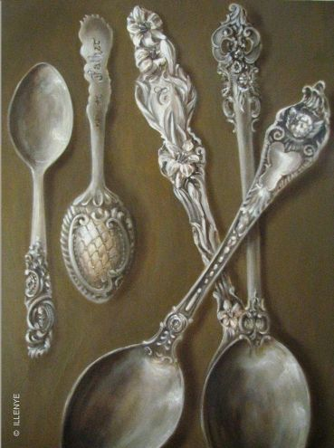 sterling silver spoons demitasse teaspoons antique angels flowers whiting lily grande baroque watson cherub, painting by artist JEANNE ILLENYE