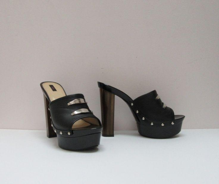 Versus Versace black leather studded slides, 5 inch heel & 1 inch platform, size 8. New.