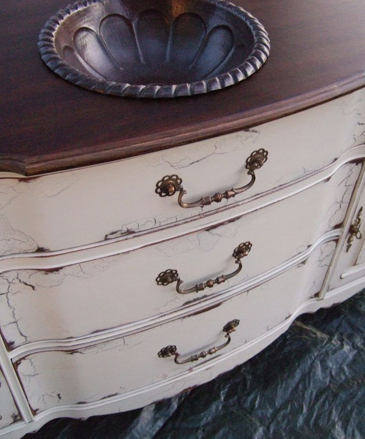 Antiqued French Country Bathroom Vanity Cabinet in French Cream with Dark Walnut top. $1,295.00, via Etsy.