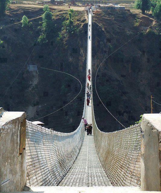 Kusma-gyadi Bridge, Nepal  Would you walk across this?????