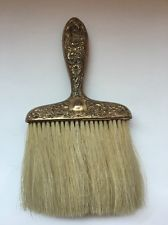 Antique Victorian Repousse Whisk Brush White Horse Hair Gold Tone Engraved