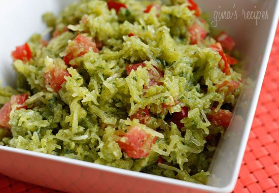 Spaghetti Squash Pesto with Tomatoes #lowcarb #sidedish #microwave #weightwatchers 5 points+: Spaghetti Squash, Fun Recipes, Guacamole, Savory Recipes, Squash Recipes Healthy, Squashes, Eating Spaghetti, Tomatoes, Squash Pesto
