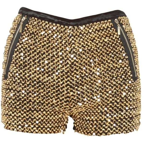 Gold Sequin Embellished Zip Pocket Hot Pants ($29) ❤ liked on Polyvore