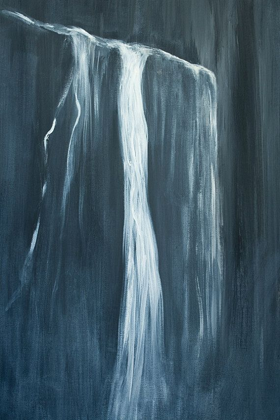 Abstract Waterfall Painting Slate Grey And White