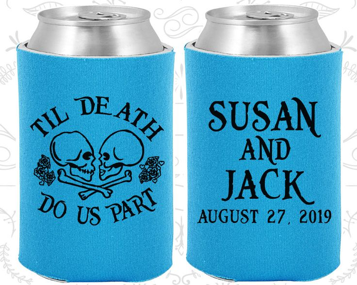 Till Death Do Us Part, Sugar Skull Wedding, Day of the Dead Wedding, Candy Skull Wedding Favors, Dia De Los Muertos Wedding Coozies (213)