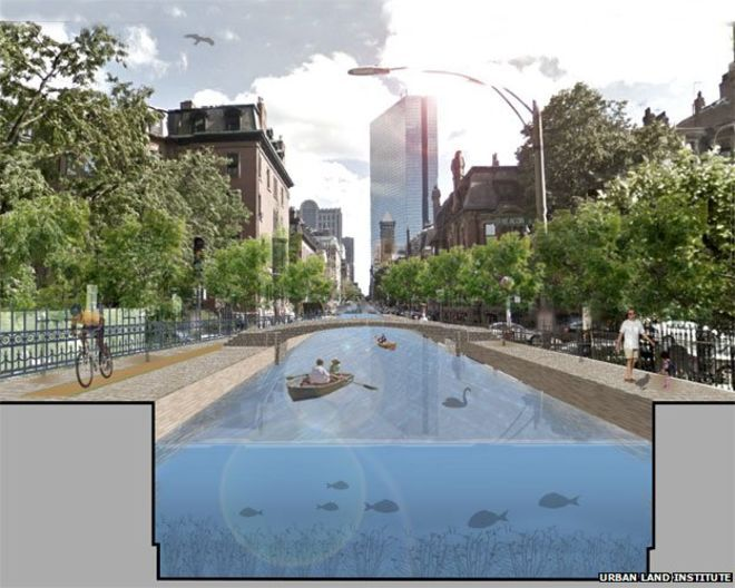Sea levels are rising, the land is sinking. It's going to become a big problem for some cities on the US East Coast, so in Boston people are thinking the unthinkable - copying Venice and Amsterdam, and becoming a city of canals.
