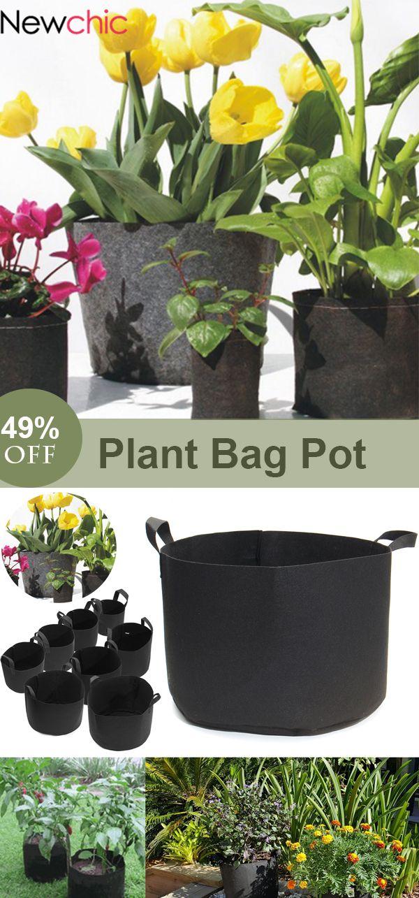 5Pcs Felt Garden Grow Bag Plant Pot Easy Drainage Washable Foldable Tote Bag #newchic#newchicgarden#plant#plantbag#plantpot