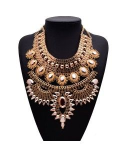 Gem Embellished Multi-layer Fashion Waterdrop Theme Chunky Costume Necklace - Golden with Champagne Gem