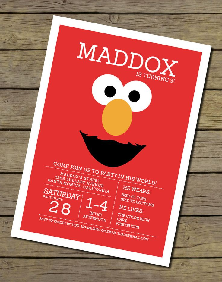 Elmo Invitation  Elmo Invite  Elmo Birthday by CharlesAlexDesign, $15.00