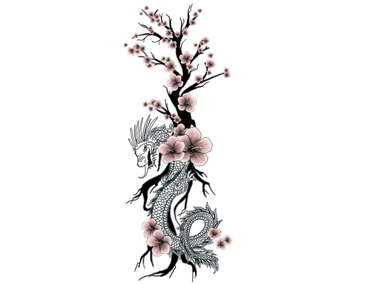 cherry blossom tattoo designs | Unique tribal with cherry ...