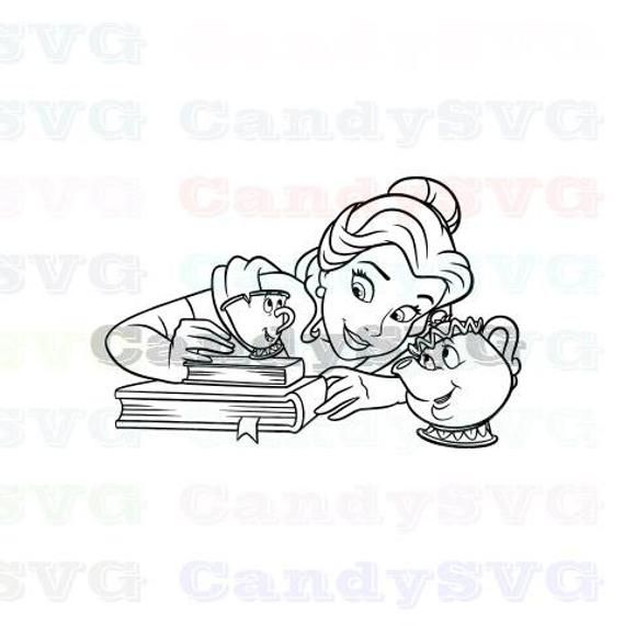 Belle Chip And Mrs Potts Beauty And The Beast Stitch Outline Svg