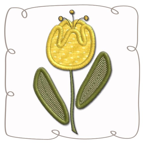 Tulip Applique Machine Embroidery Design Pattern-INSTANT DOWNLOAD