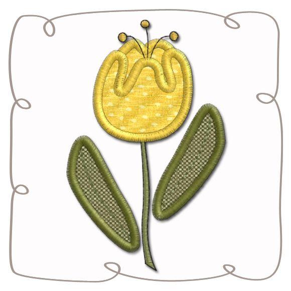 Tulip Applique Machine Embroidery Design Pattern-INSTANT DOWNLOAD