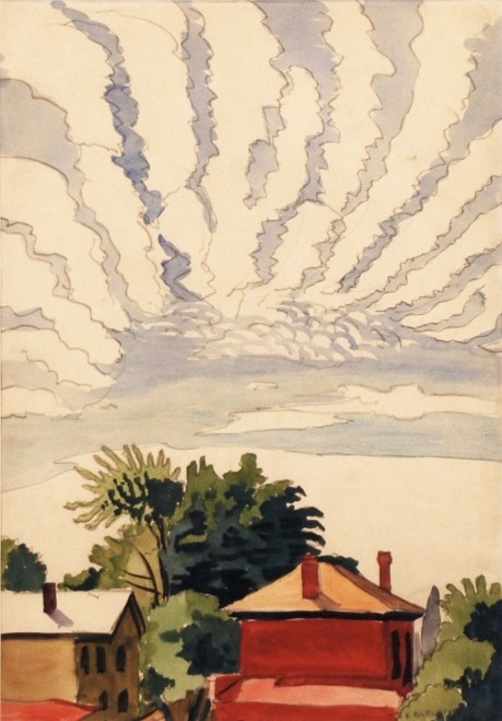 Charles E. Burchfield (1893-1967)  Untitled (Red house) 1916; watercolor with graphite on paper