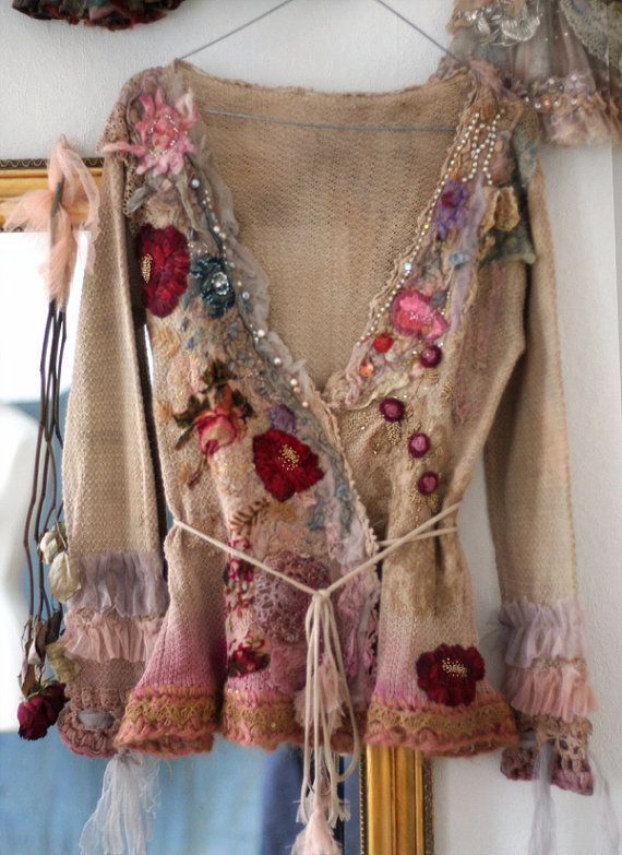 ☮ American Hippie Bohemian Style ~ Boho .. Cherry rose-- cute reworked vintage wrap cardi with nuno felted details,  hand embroidered, bohemian romantic ❤️ #Bohemian Style #Womens Interest