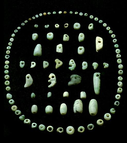 Jomon-era Jade accessory parts. BC.2,500 - BC.1,200. Hokkaido Japan.