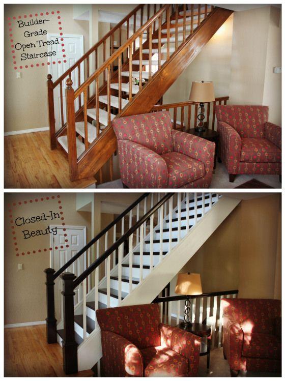 Diy Stairway Makeover Foyer Open Tread Stairway Remodel