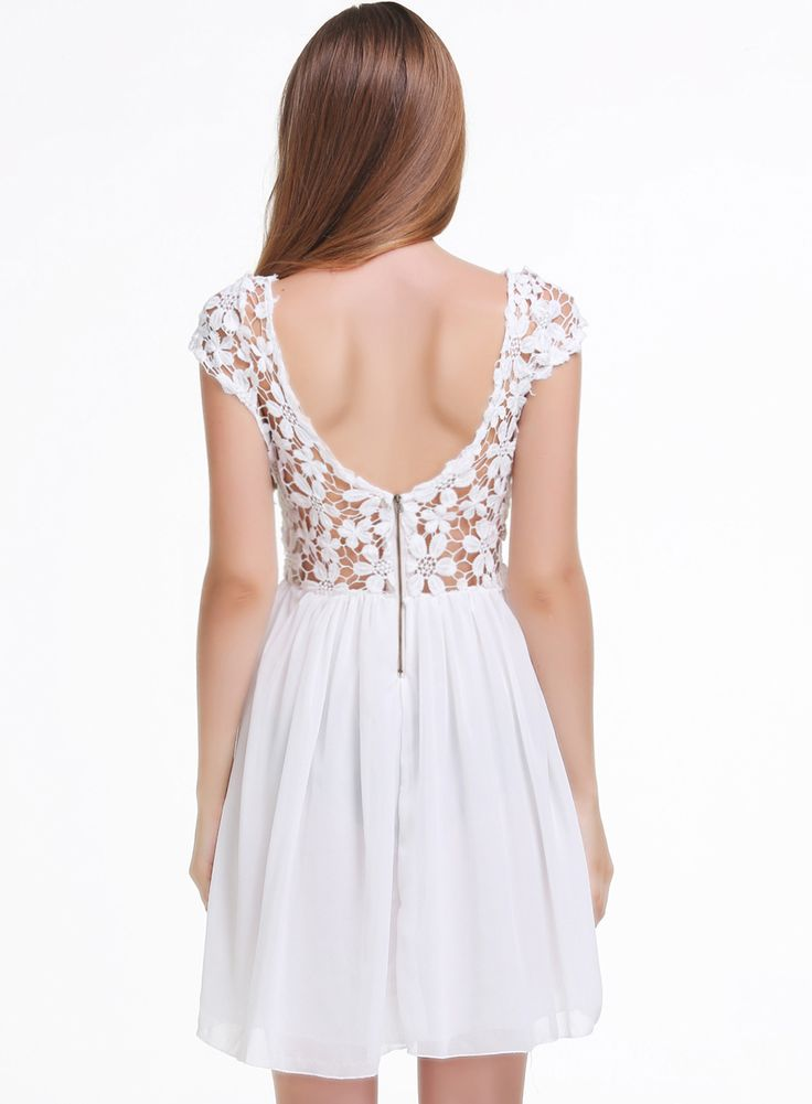 White Short Sleeve Hollow Floral Crochet Pleated Dress 17.99