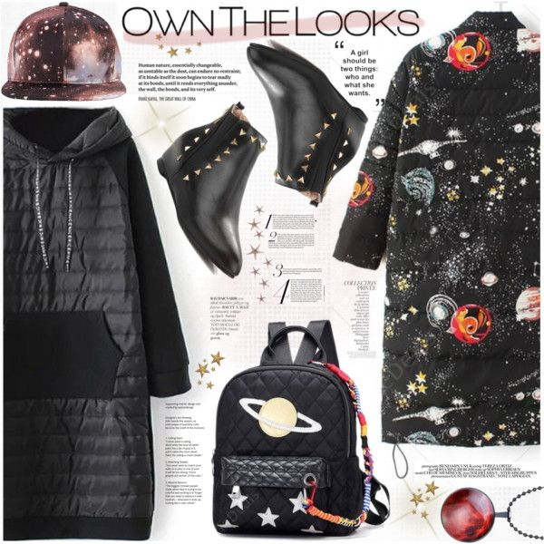 Stars Print for Winter by katjuncica on Polyvore featuring Chloé, By Terry, ankleboots, winterfashion, skyprint, starsprintcoat and starpattern