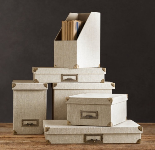 Linen Office Storage Accessories, Sand - traditional - home office products - - by Restoration Hardware