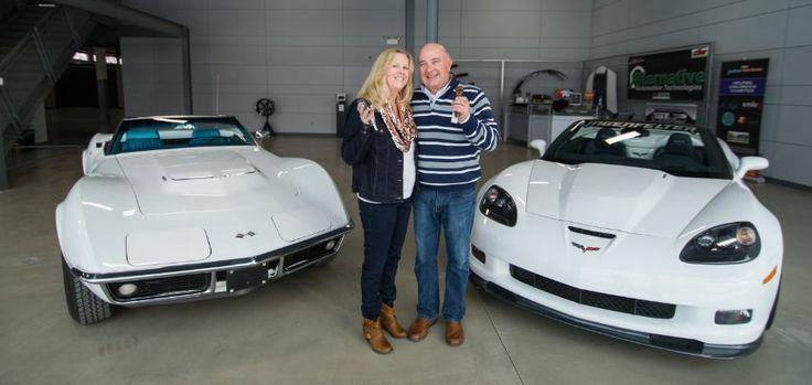 The DeGreves in front of their pair of matching 427 Corvettes- one old and one new!