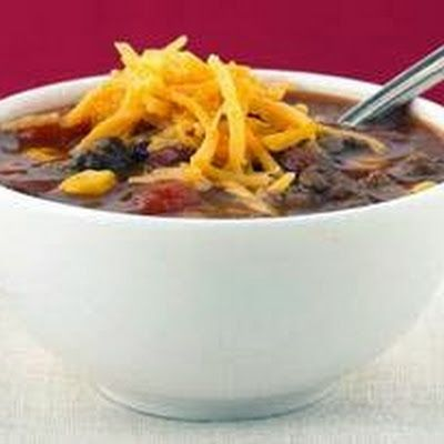Taco Soup by Kraft  Use kidney beans for chili beans, and diced or pureed tomatoes for whole.