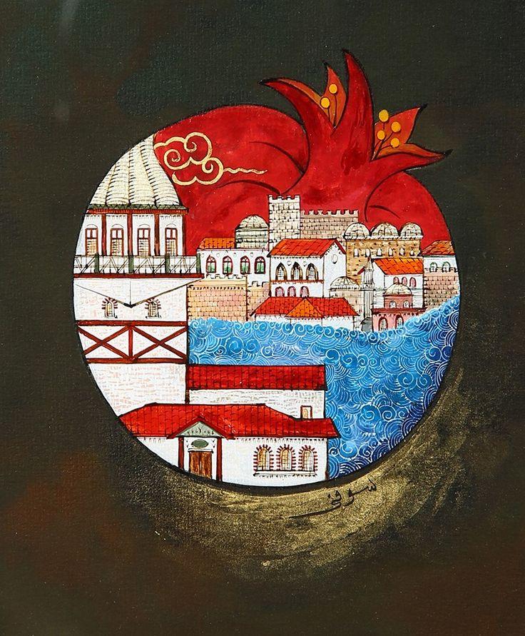 Nar içerisinde Kız Kulesi'nden Sarayburnu. Taner Alakuş Minyatür Atölyesi