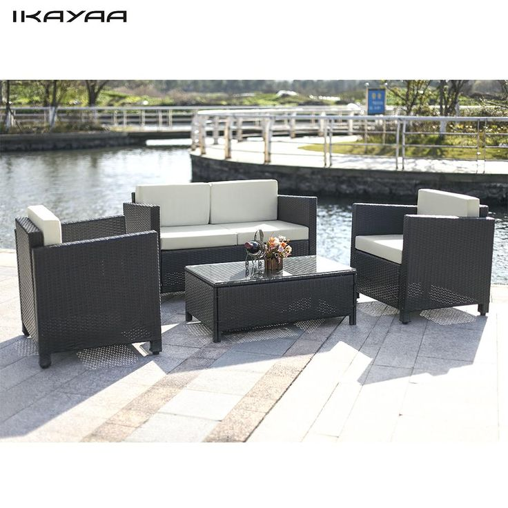 Cool Cushioned Rattan Outdoor Patio Sofa Couch Set Garden Furniture Set US