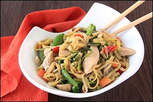 Swap out the carby pasta! Make HG's Zucchini So Low Mein w/ Chicken & California Girlfredo!